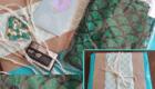 Poshmark @BehindTheCloth Green Mermaid Leggings Ocean Packaging Collage
