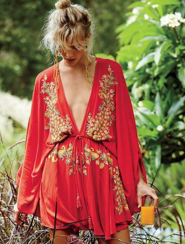 BOHO Gorgeous Floral Embroidered Plunge V Neck Tunic Ellysiums