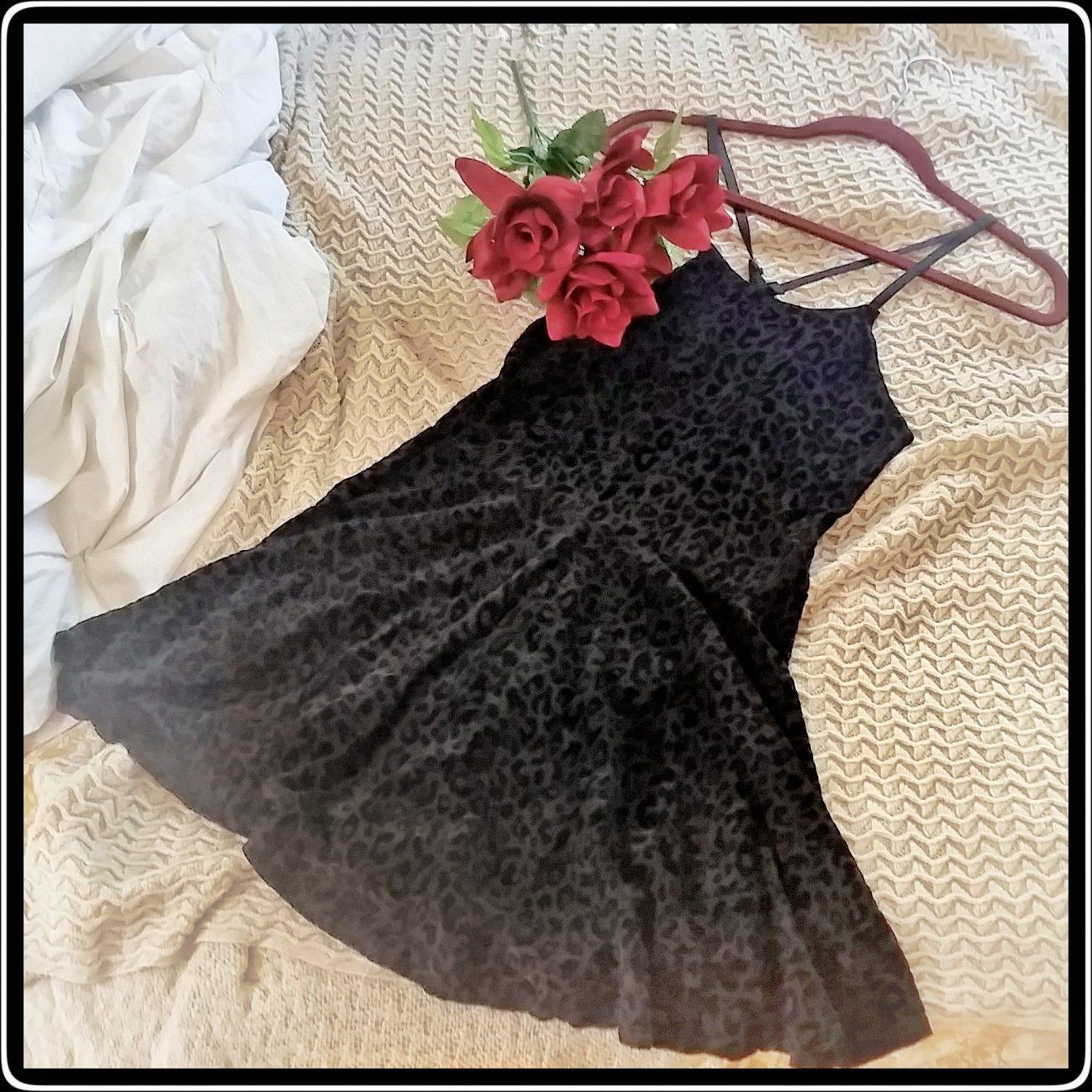 Black Cheetah Print Skater Dress