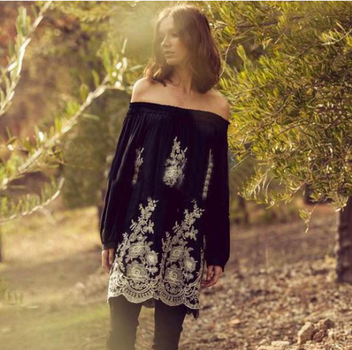 Boho Floral Embroidered Shirt Dress Ellysiums