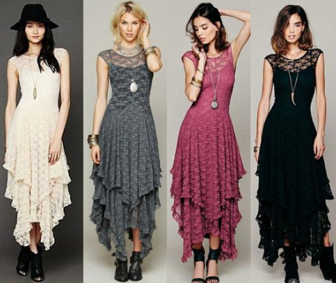 Boho Sheer Lace Gypsy Style Dresses Ellysiums