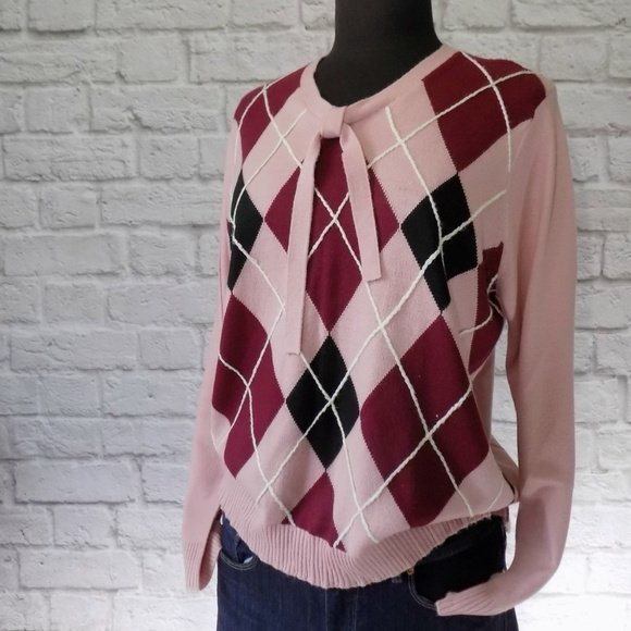 Gwen Poshmark Reckless Resale Romance Pink Vintage Collection Vintage Studio Works Argyle Sweetheart Sweater