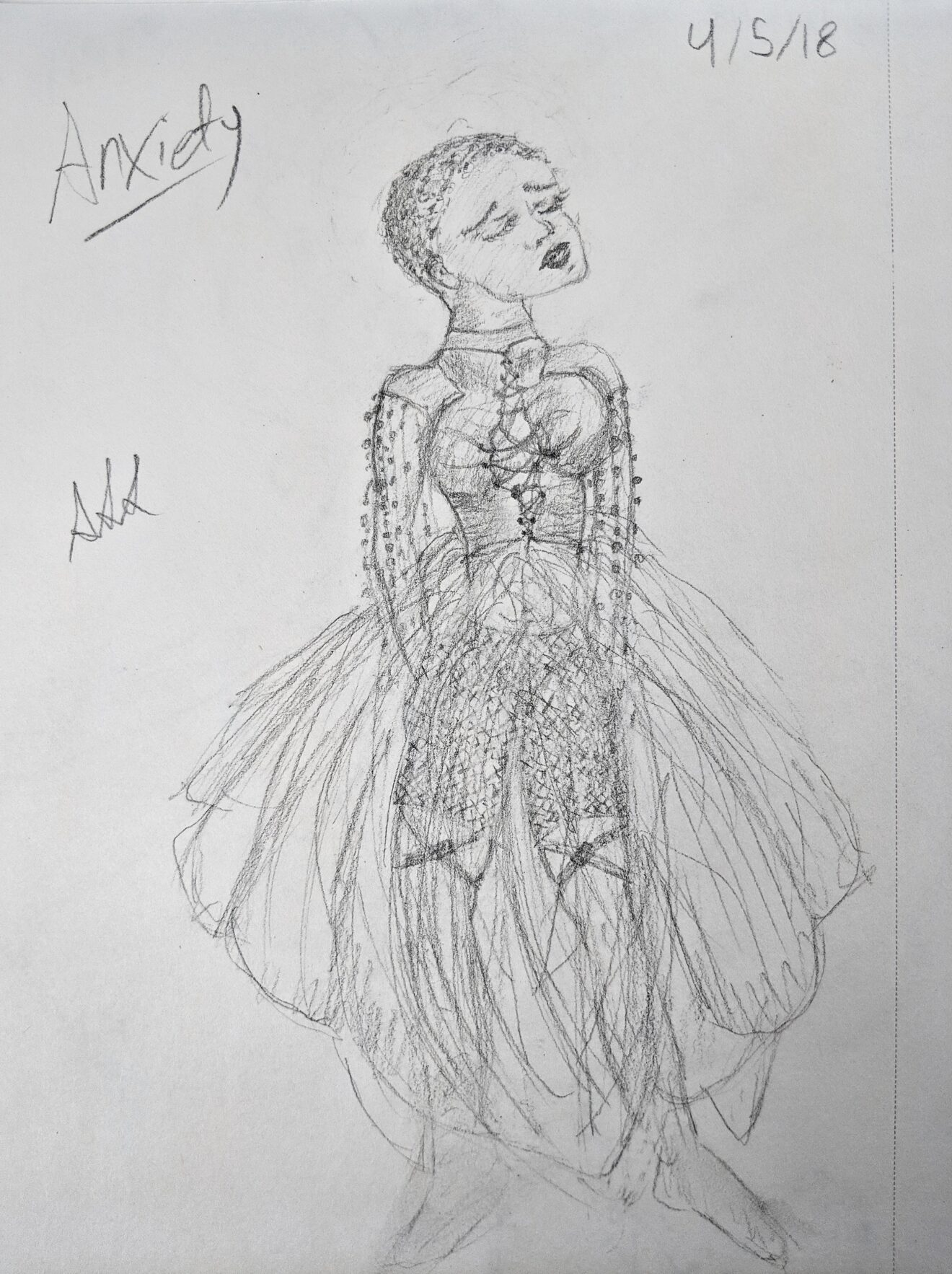 Sketches of Anxiousness – My Anxiety Inspired Conceptual Fashion Collection 3 Panic Attack