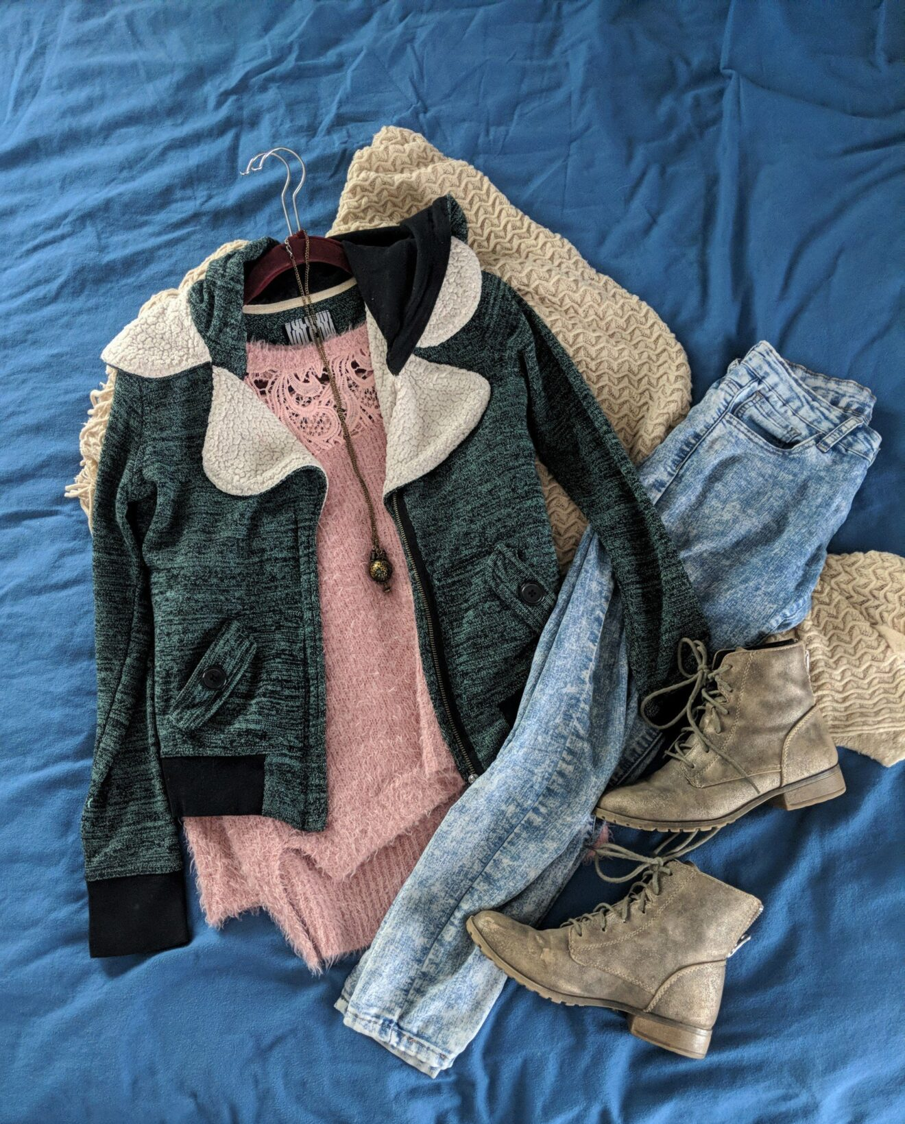 Story Behind the Cloth Where is far far away and how do i get there peaceful and adventurous outfit of the day flatlay 2