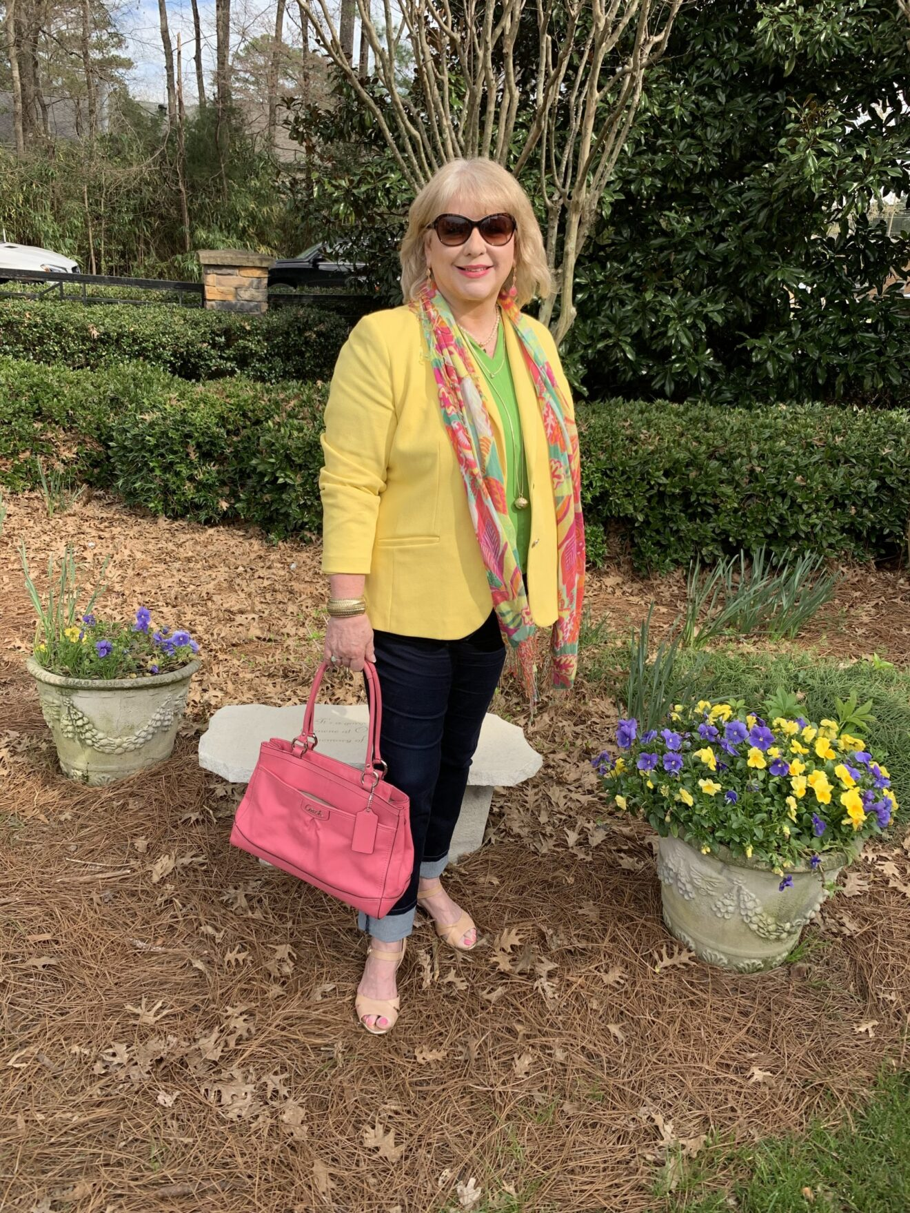 Style Story Interview Classy Colorful Confidence @StyleShennanigans Shannon Holmes Fashion Over 50 60 Confident Bright Yellow Lime Green Coral Pink Spring Outfit Story Behind The Cloth scaled
