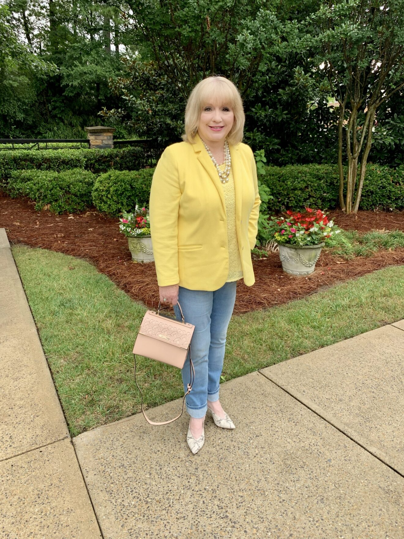 Style Story Interview Classy Colorful Confidence @StyleShennanigans Shannon Holmes Fashion Over 50 60 Confident Casual Yellow Blazer Outfit Story Behind The Cloth scaled