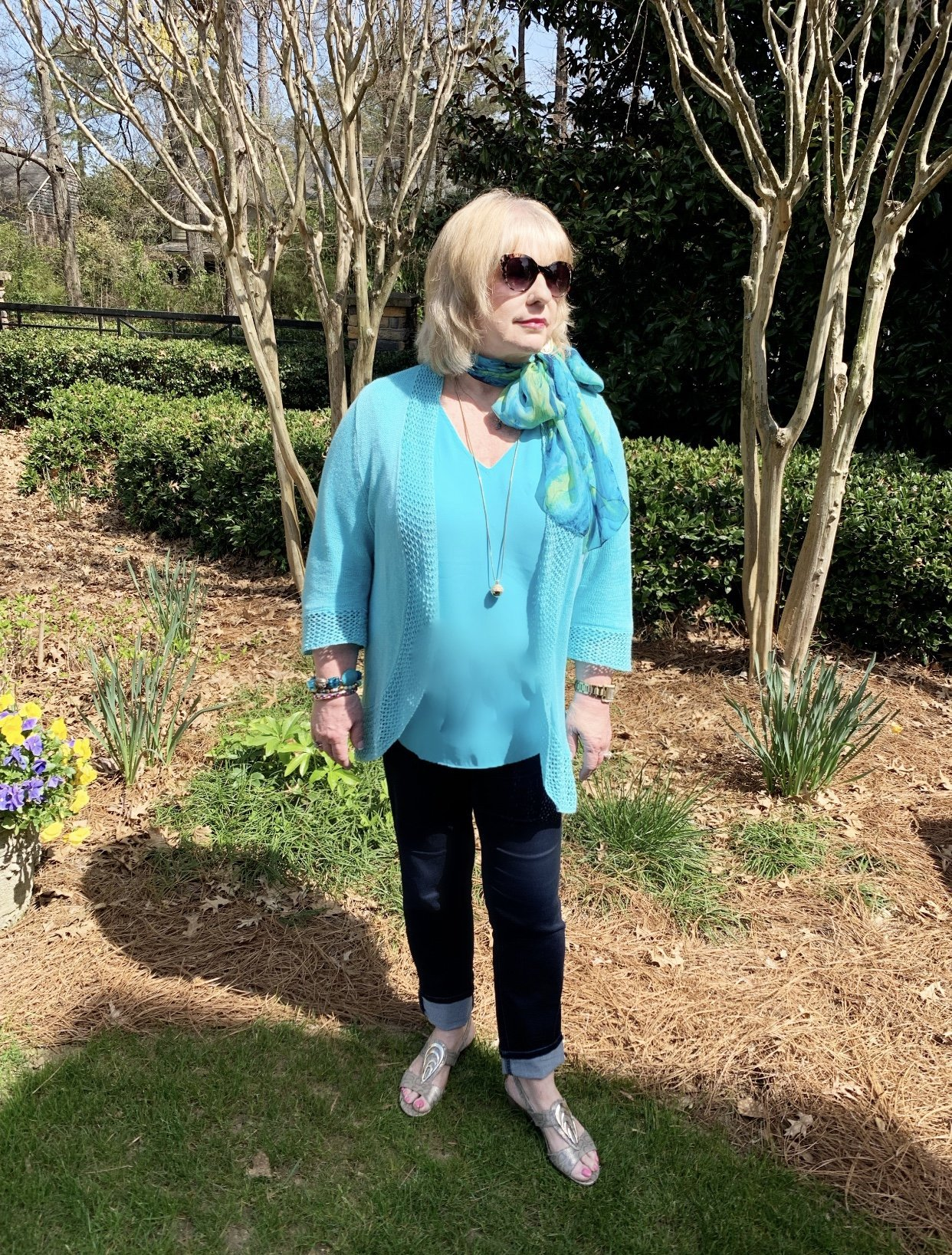 Style Story Interview Classy Colorful Confidence @StyleShennanigans Shannon Holmes Fashion Over 50 60 Confident Chic Aqua Outfit Ascot Bow Tied Scarf Story Behind The Cloth