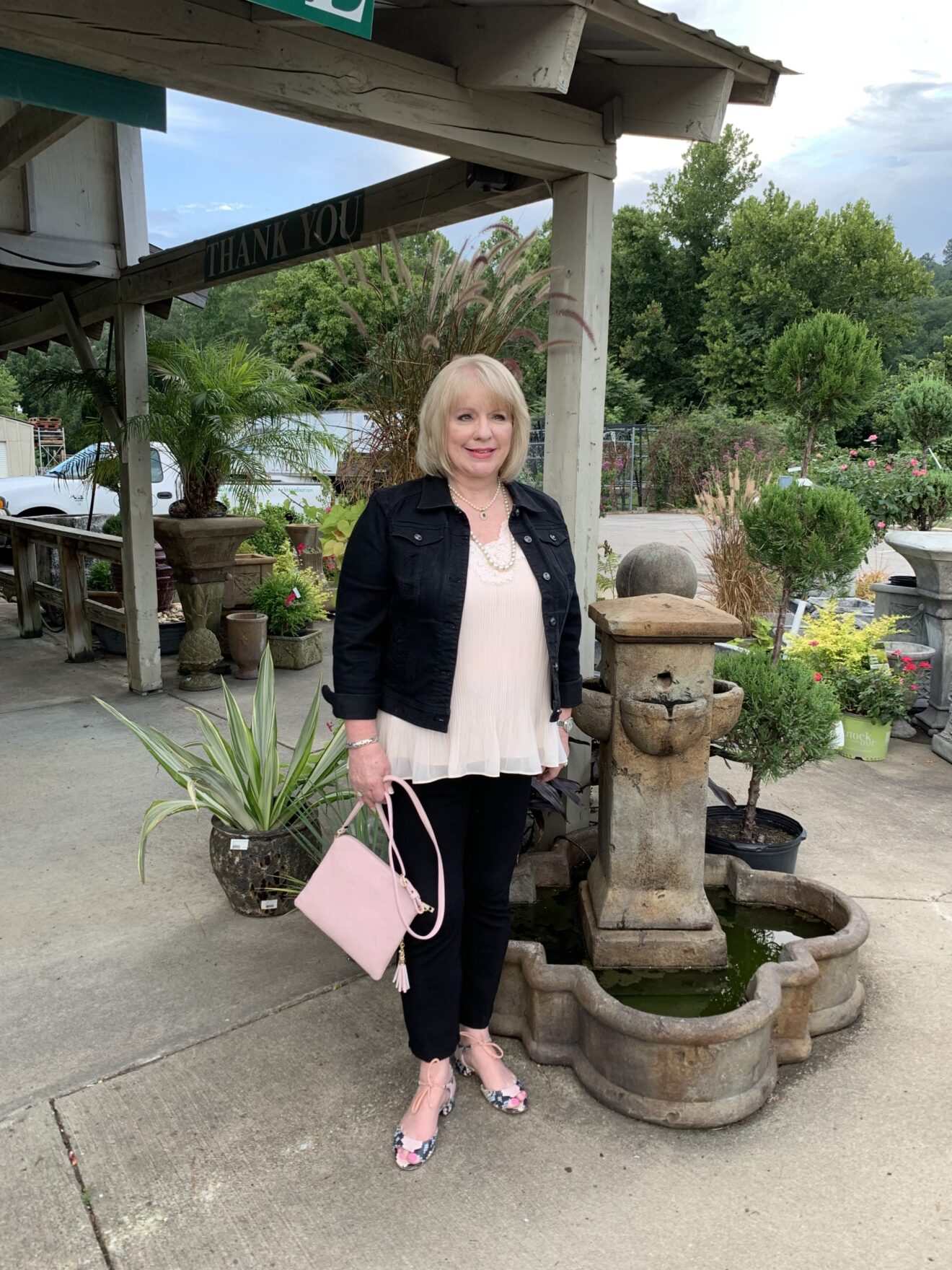 Style Story Interview Classy Colorful Confidence @StyleShennanigans Shannon Holmes Fashion Over 50 60 Confident Classic Chic Outfit with Pearls and Floral Heels Story Behind The Cloth scaled
