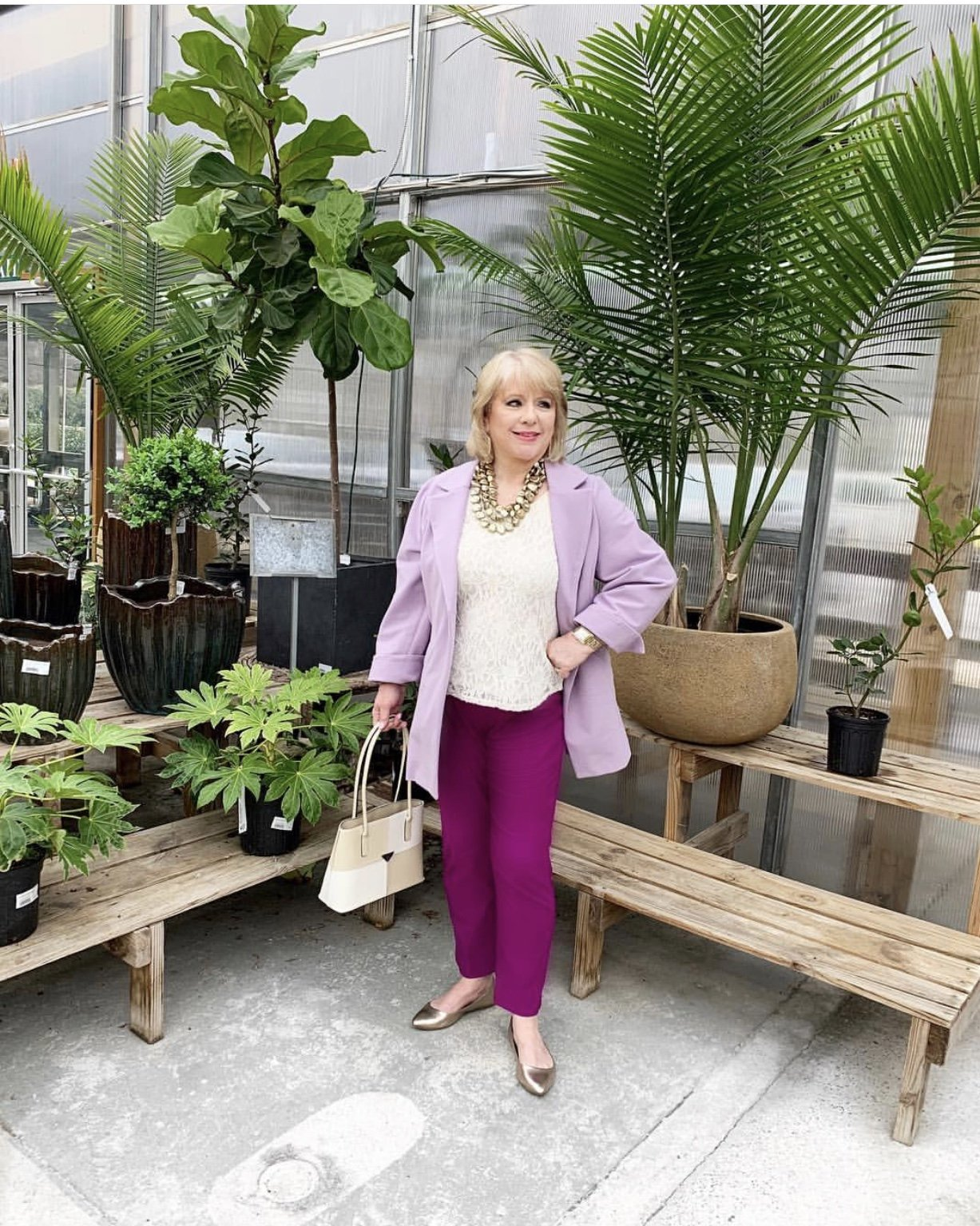 Style Story Interview Classy Colorful Confidence @StyleShennanigans Shannon Holmes Fashion Over 50 60 Confident Classic Romantic Regal Purple Outfit Story Behind The Cloth