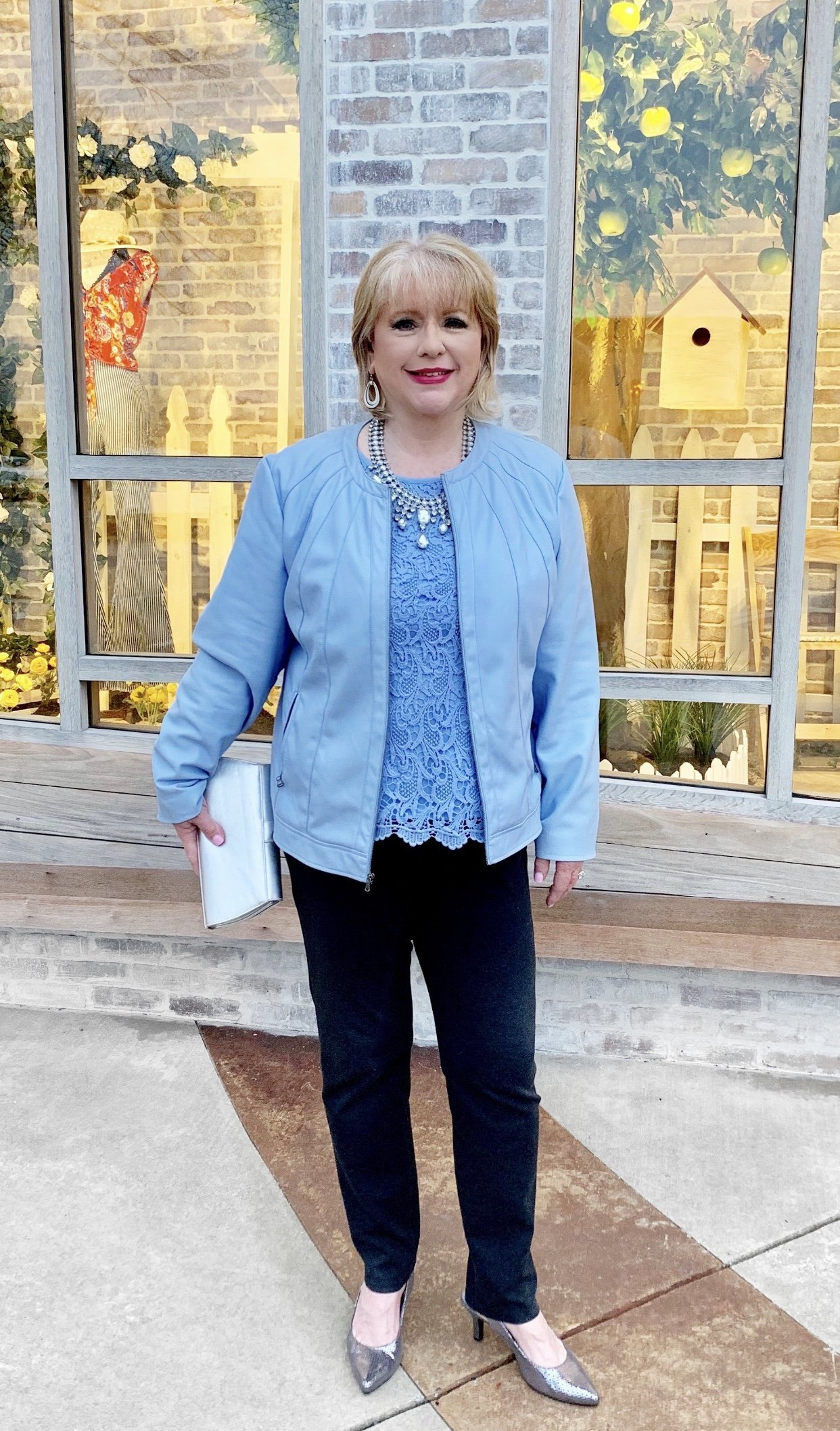 Style Story Interview Classy Colorful Confidence @StyleShennanigans Shannon Holmes Fashion Over 50 60 Confident Classic Romantic Sophisticated Light Blue Lace Outfit Story Behind The Cloth