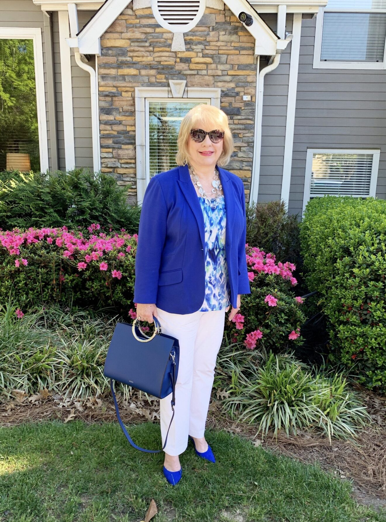 Style Story Interview Classy Colorful Confidence @StyleShennanigans Shannon Holmes Fashion Over 50 60 Confident Cobalt Blue Watercolor Ikat Outfit Story Behind The Cloth scaled