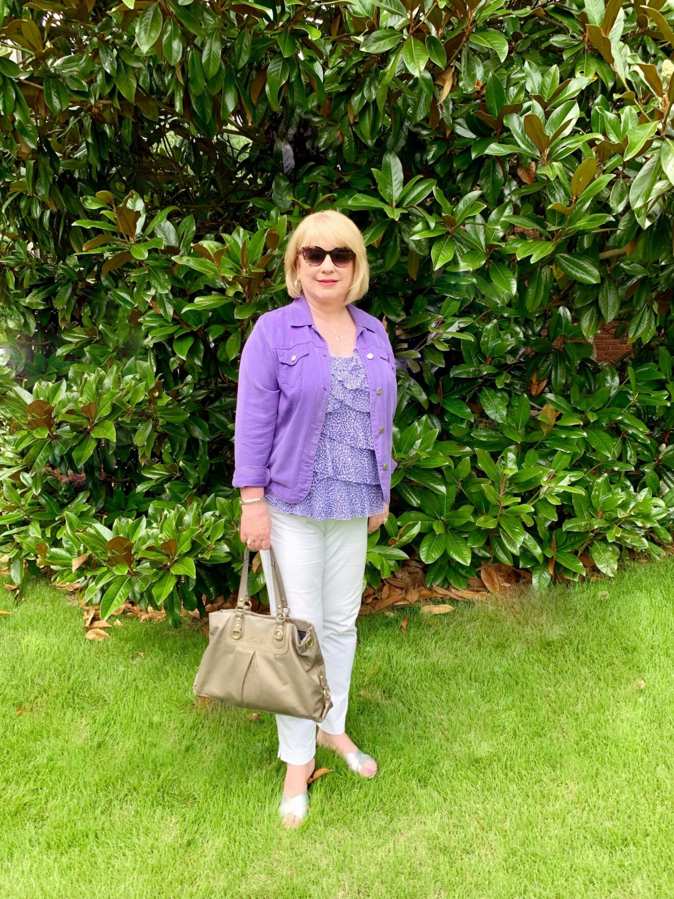 Style Story Interview Classy Colorful Confidence @StyleShennanigans Shannon Holmes Fashion Over 50 60 Confident Feminine Purple Ruffles Outfit Story Behind The Cloth scaled