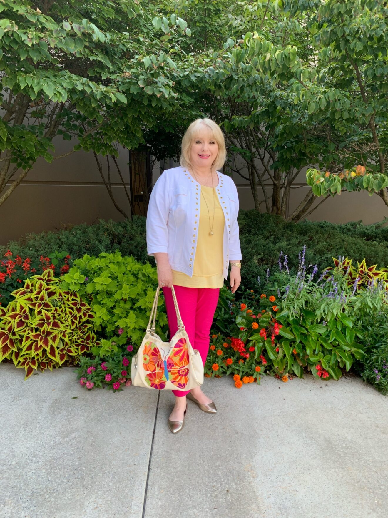 Style Story Interview Classy Colorful Confidence @StyleShennanigans Shannon Holmes Fashion Over 50 60 Confident Happy Pink and Yellow Butterfly Outfit Story Behind The Cloth scaled