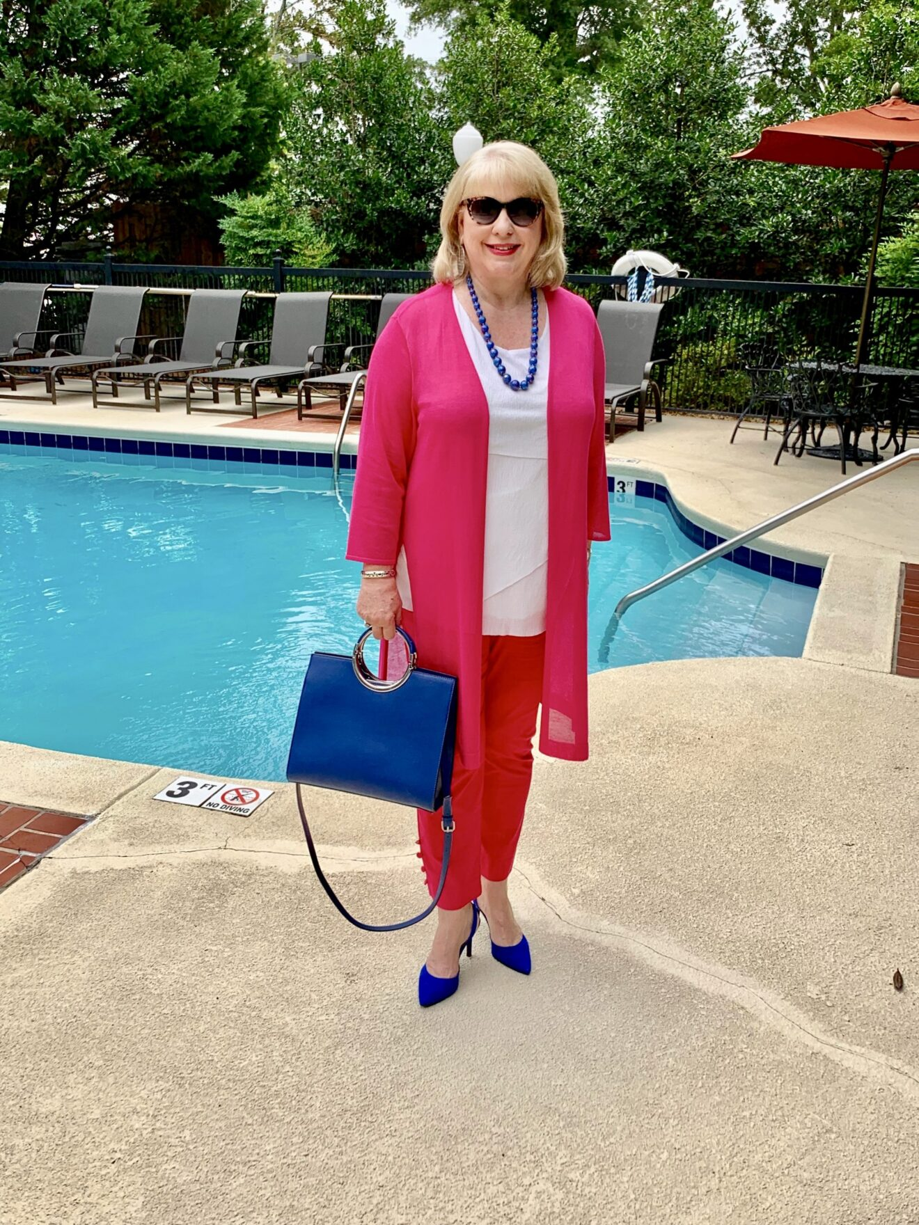 Style Story Interview Classy Colorful Confidence @StyleShennanigans Shannon Holmes Fashion Over 50 60 Confident Hot Pink and Cobalt Blue Outfit with Sheer Duster Story Behind The Cloth scaled