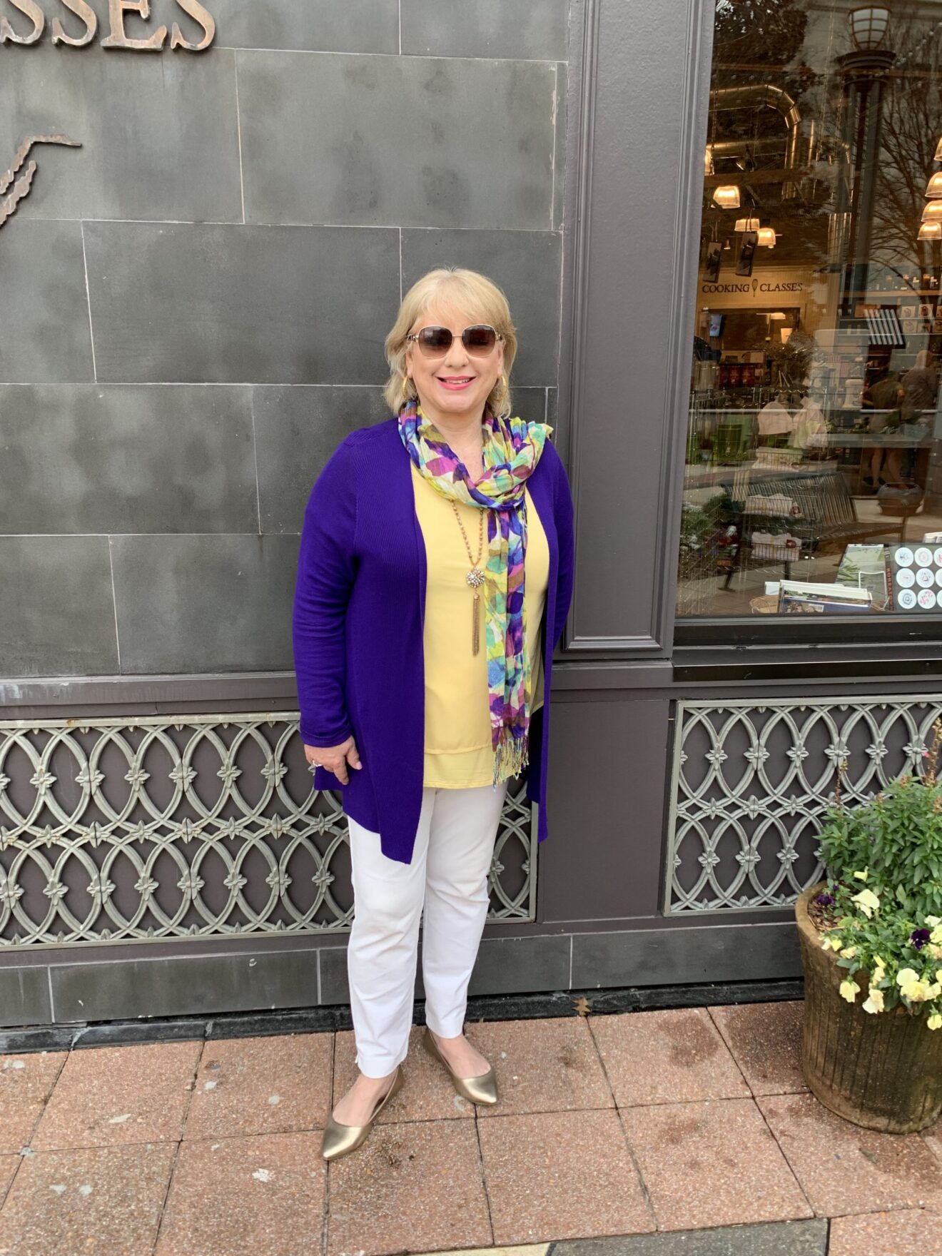 Style Story Interview Classy Colorful Confidence @StyleShennanigans Shannon Holmes Fashion Over 50 60 Confident Playful Yellow Purple Outfit Story Behind The Cloth scaled