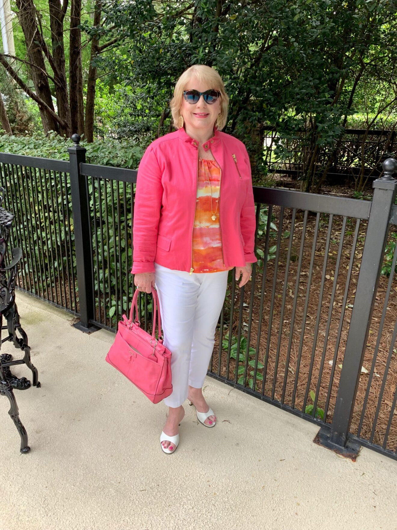 Style Story Interview Classy Colorful Confidence @StyleShennanigans Shannon Holmes Fashion Over 50 60 Confident White Bright Pink and Orange Outfit Story Behind The Cloth scaled