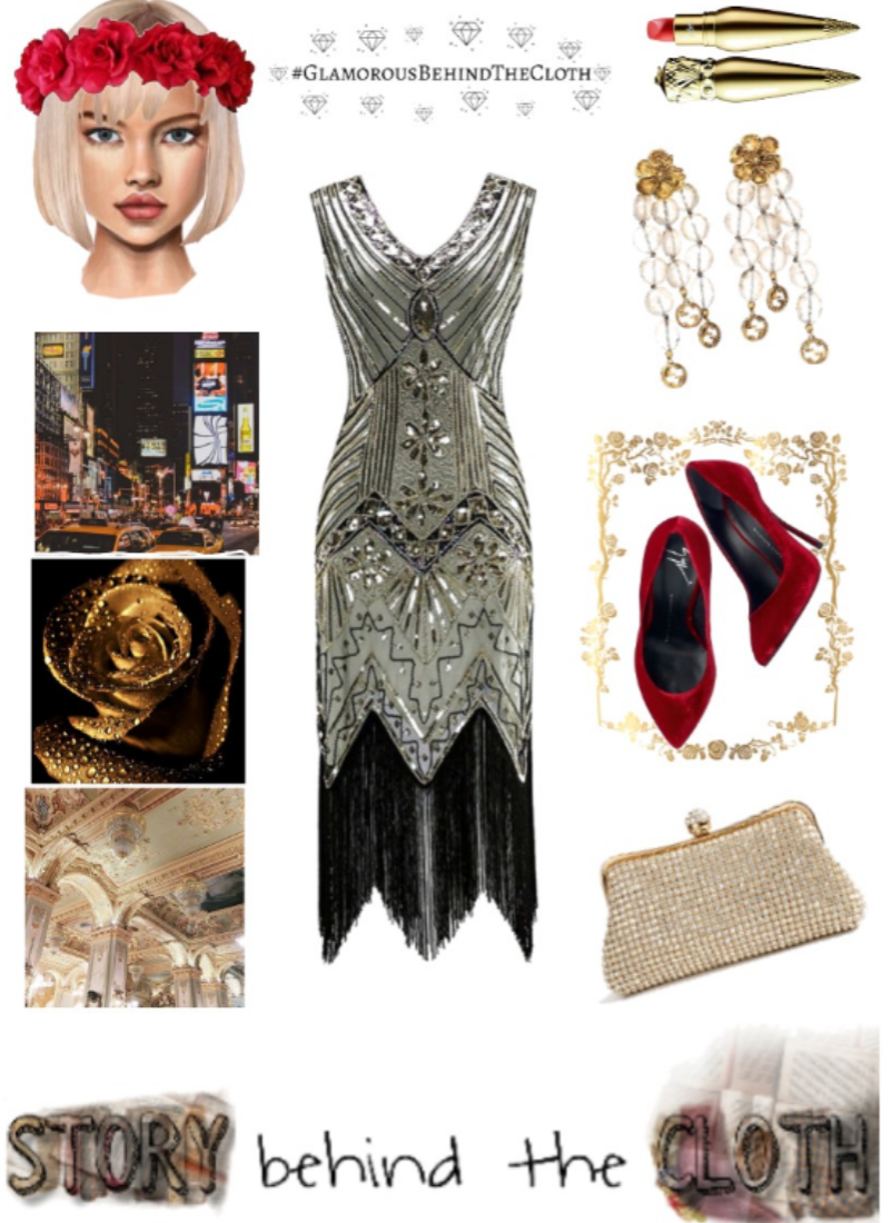 Combyne Polyvore Style Fashion Style Collage Roaring 20s Flirty Glamorous Flapper Inspired Outfit