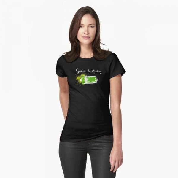 redbubble social distancing fitted t shirt