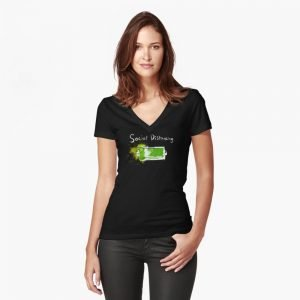redbubble social distancing fitted v neck t shirt