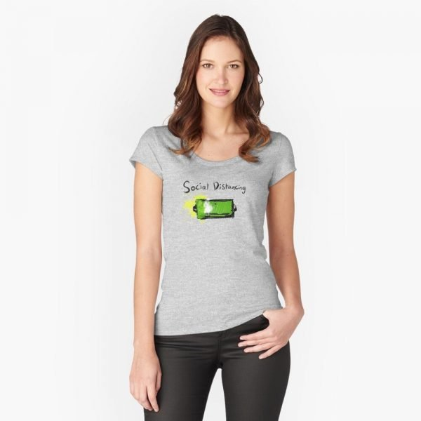redbubble social distancing grey fitted scoop t shirt