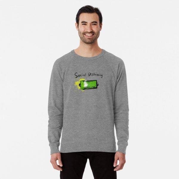 redbubble social distancing grey lightweight sweatshirt