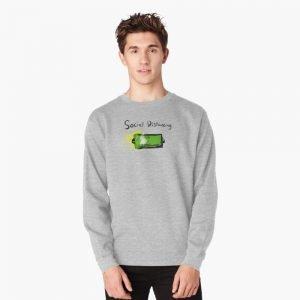 redbubble social distancing grey pullover sweatshirt