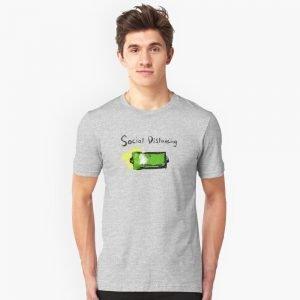 redbubble social distancing grey slim fit t shirt