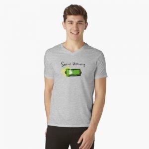 redbubble social distancing grey v neck t shirt