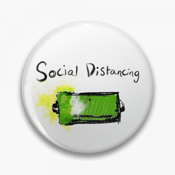 redbubble social distancing white pin