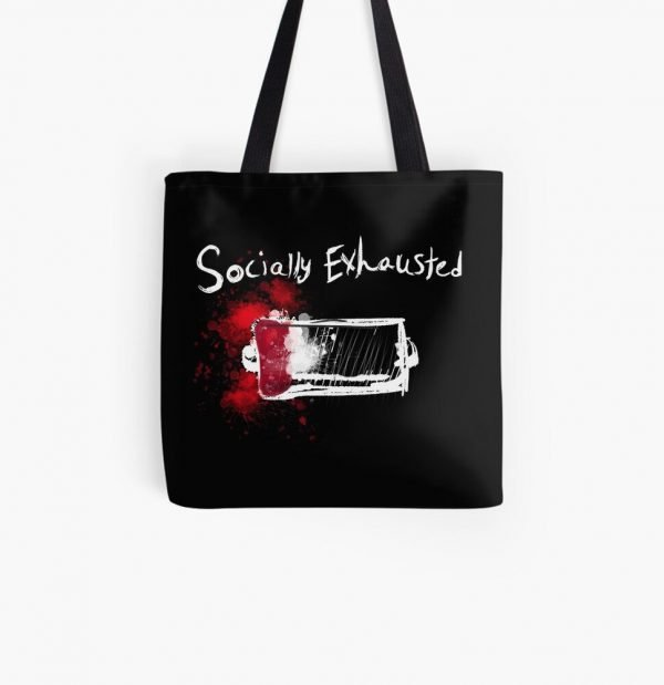 redbubble socially exhausted all over print tote bag