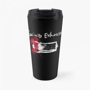 redbubble socially exhausted travel mug