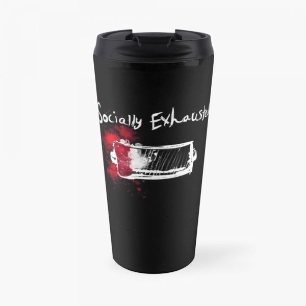 redbubble socially exhausted travel mug