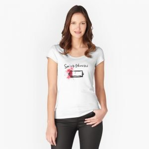 redbubble socially exhausted white fitted scoop t shirt