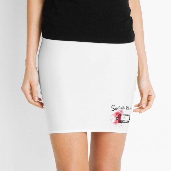 redbubble socially exhausted white mini skirt