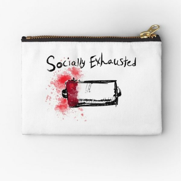 redbubble socially exhausted white zipper pouch