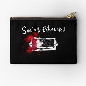 redbubble socially exhausted zipper pouch