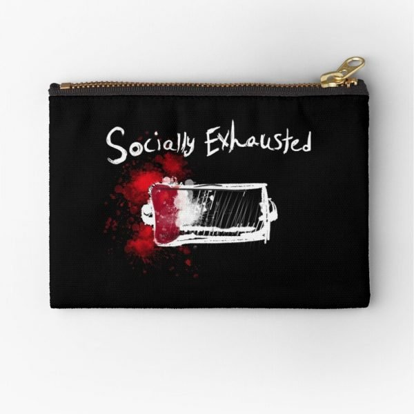 redbubble socially exhausted zipper pouch